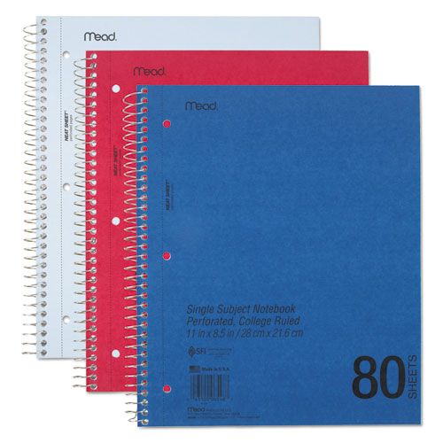 DuraPress Cover Notebook, 1 Subject, Medium/College Rule, Assorted Color Covers, 11 x 8.5, 80 Sheets. Picture 1
