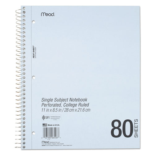 DuraPress Cover Notebook, 1 Subject, Medium/College Rule, Assorted Color Covers, 11 x 8.5, 80 Sheets. Picture 4