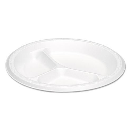 Elite Laminated Foam Plates, 8.88 Inches, White, Round, 3 Comp, 125/PK, 4 PK/CT. Picture 1