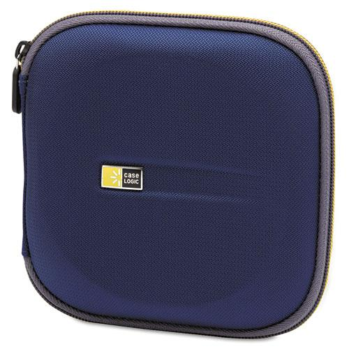 Molded EVA CD/DVD Wallet, Holds 24 Discs, Blue. Picture 1