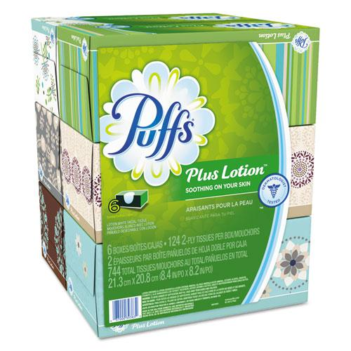 Plus Lotion Facial Tissue, 2-Ply, White, 124 Sheets/Box, 6 Boxes/Pack, 4 Packs/Carton. Picture 1