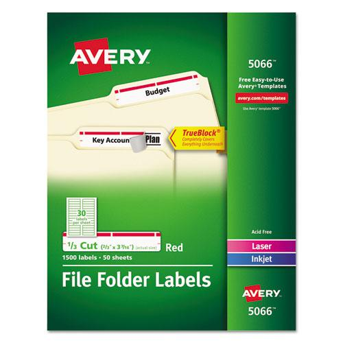 Permanent TrueBlock File Folder Labels with Sure Feed Technology, 0.66 x 3.44, White, 30/Sheet, 50 Sheets/Box. Picture 1