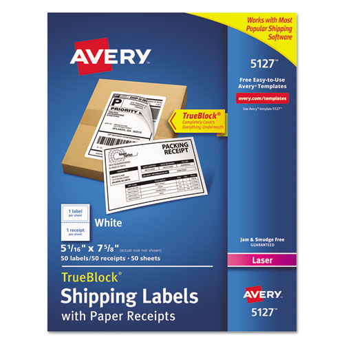 Shipping Labels with Paper Receipt and TrueBlock Technology, Inkjet/Laser Printers, 5.06 x 7.63, White, 50/Pack. Picture 1