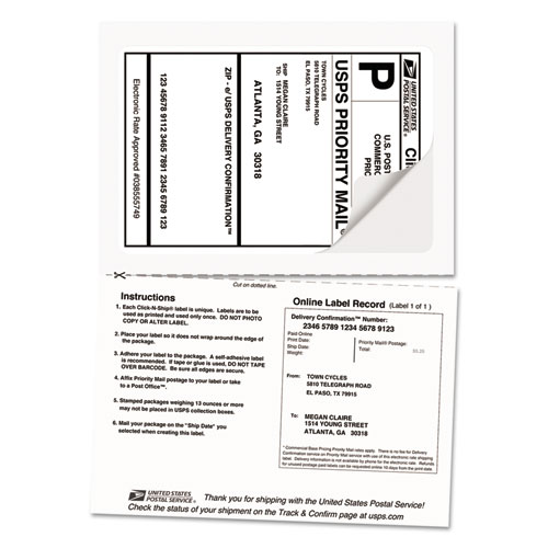 Shipping Labels with Paper Receipt and TrueBlock Technology, Inkjet/Laser Printers, 5.06 x 7.63, White, 50/Pack. Picture 3