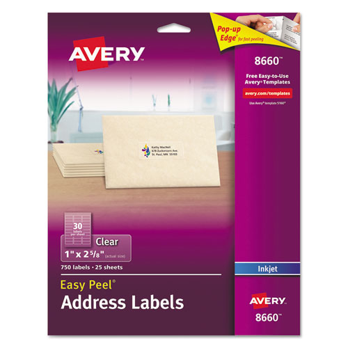 Matte Clear Easy Peel Mailing Labels w/ Sure Feed Technology, Inkjet Printers, 1 x 2.63, Clear, 30/Sheet, 25 Sheets/Pack. Picture 1