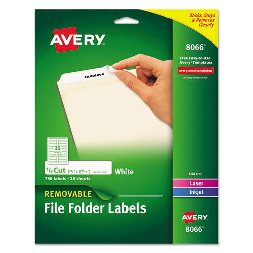 Removable File Folder Labels with Sure Feed Technology, 0.66 x 3.44, White, 30/Sheet, 25 Sheets/Pack. Picture 1