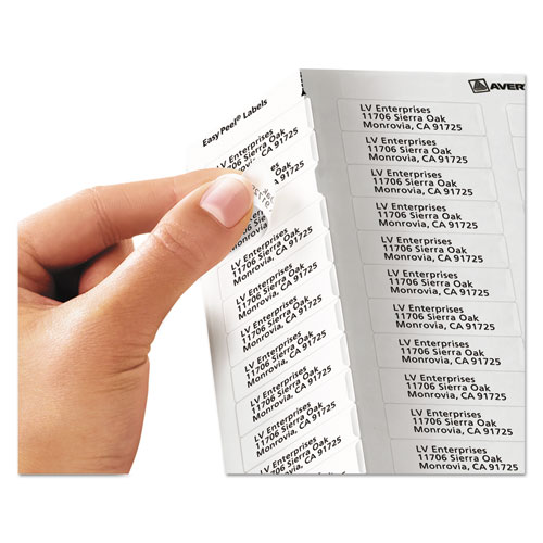 Matte Clear Easy Peel Mailing Labels w/ Sure Feed Technology, Laser Printers, 0.5 x 1.75, Clear, 80/Sheet, 25 Sheets/Box. Picture 2