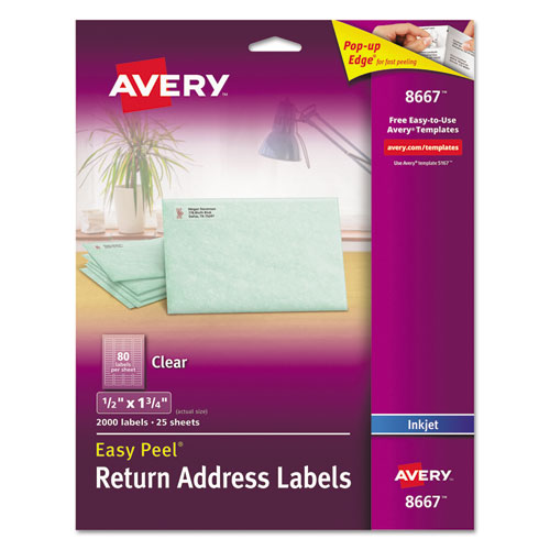 Matte Clear Easy Peel Mailing Labels with Sure Feed Technology, Inkjet Printers, 0.5 x 1.75, Clear, 80/Sheet, 25 Sheets/Pack. Picture 1