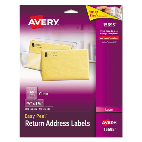 Matte Clear Easy Peel Mailing Labels w/ Sure Feed Technology, Laser Printers, 0.66 x 1.75, Clear, 60/Sheet, 10 Sheets/Pack. Picture 1