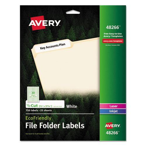 EcoFriendly Permanent File Folder Labels, 0.66 x 3.44, White, 30/Sheet, 25 Sheets/Pack. Picture 1