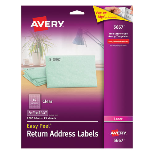Matte Clear Easy Peel Mailing Labels w/ Sure Feed Technology, Laser Printers, 0.5 x 1.75, Clear, 80/Sheet, 25 Sheets/Box. Picture 1