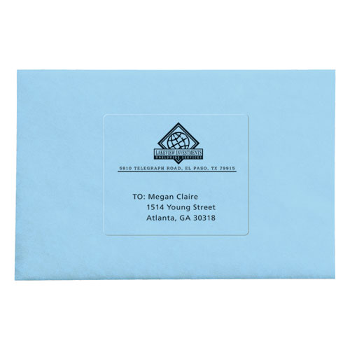 Matte Clear Easy Peel Mailing Labels w/ Sure Feed Technology, Laser Printers, 3.33 x 4, Clear, 6/Sheet, 50 Sheets/Box. Picture 2
