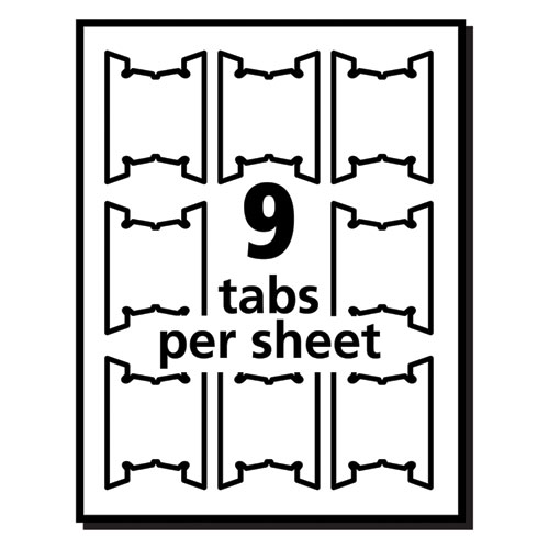"""Laser Printable Hanging File Tabs, 1/5-Cut Tabs, White, 2.06"""" Wide, 90/Pack. Picture 5"""