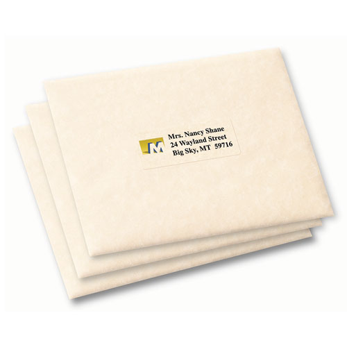 Matte Clear Easy Peel Mailing Labels w/ Sure Feed Technology, Inkjet Printers, 1 x 2.63, Clear, 30/Sheet, 10 Sheets/Pack. Picture 2