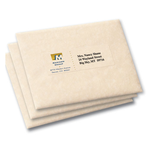 Matte Clear Easy Peel Mailing Labels w/ Sure Feed Technology, Inkjet Printers, 1.33 x 4, Clear, 14/Sheet, 25 Sheets/Pack. Picture 2