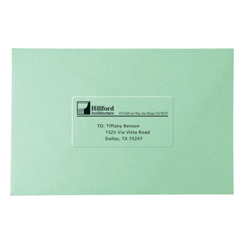 Matte Clear Easy Peel Mailing Labels w/ Sure Feed Technology, Laser Printers, 2 x 4, Clear, 10/Sheet, 50 Sheets/Box. Picture 5