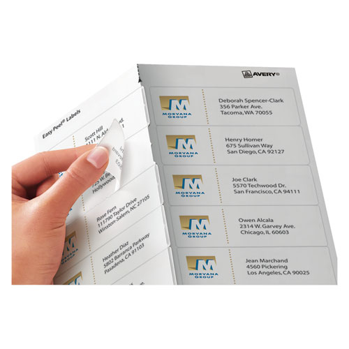 Matte Clear Easy Peel Mailing Labels w/ Sure Feed Technology, Inkjet Printers, 1.33 x 4, Clear, 14/Sheet, 25 Sheets/Pack. Picture 3