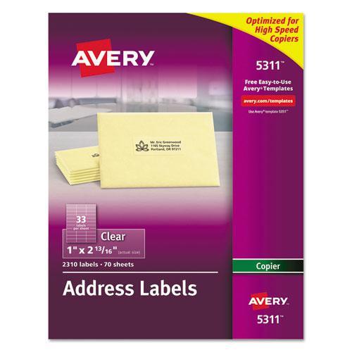 Copier Mailing Labels, Copiers, 1 x 2.81, Clear, 33/Sheet, 70 Sheets/Pack. Picture 1