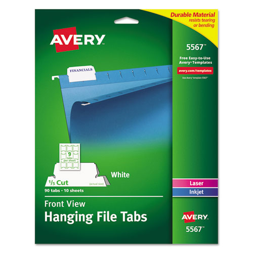 """Laser Printable Hanging File Tabs, 1/5-Cut Tabs, White, 2.06"""" Wide, 90/Pack. Picture 1"""
