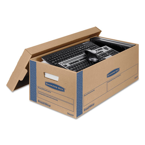 """SmoothMove Prime Moving & Storage Boxes, Small, Half Slotted Container (HSC), 24"""" x 12"""" x 10"""", Brown Kraft/Blue, 8/Carton. Picture 3"""