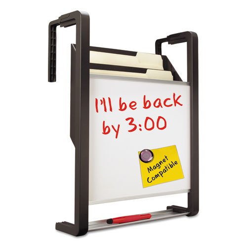 Hanging File Pocket with Dry Erase Board, Three Pockets, Letter, Black. Picture 1