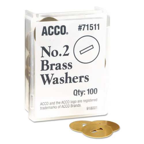 "Washers for Two-Prong Fasteners, #2, 1.25"" Diameter, Brass, 100/Box. Picture 1"