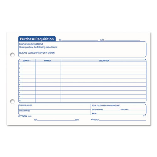 Purchasing Requisition Pad, 5 1/2 x 8 1/2, 100/Pad, 2/Pack. Picture 1