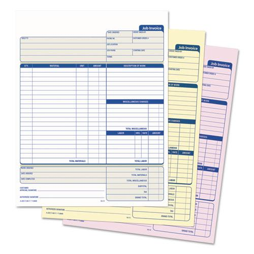 Snap-Off Job Invoice Form, 8 1/2 x 11 5/8, Three-Part Carbonless, 50 Forms. Picture 2