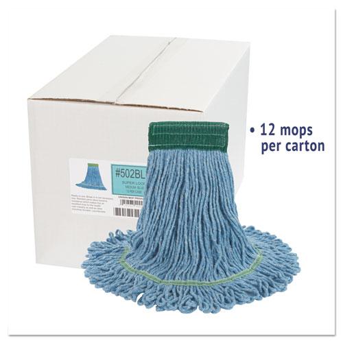"Super Loop Wet Mop Head, Cotton/Synthetic Fiber, 5"" Headband, Medium Size, Blue, 12/Carton. Picture 2"