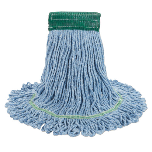 "Super Loop Wet Mop Head, Cotton/Synthetic Fiber, 5"" Headband, Medium Size, Blue, 12/Carton. Picture 1"