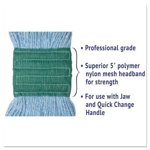 "Super Loop Wet Mop Head, Cotton/Synthetic Fiber, 5"" Headband, Medium Size, Blue, 12/Carton. Picture 5"