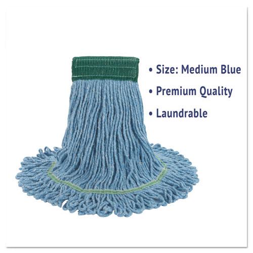 "Super Loop Wet Mop Head, Cotton/Synthetic Fiber, 5"" Headband, Medium Size, Blue, 12/Carton. Picture 3"