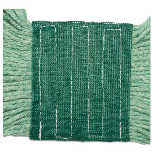 "Super Loop Wet Mop Head, Cotton/Synthetic Fiber, 5"" Headband, Medium Size, Green. Picture 8"