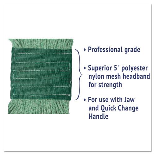 "Super Loop Wet Mop Head, Cotton/Synthetic Fiber, 5"" Headband, Medium Size, Green. Picture 4"