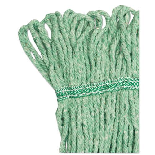 "Super Loop Wet Mop Head, Cotton/Synthetic Fiber, 5"" Headband, Medium Size, Green. Picture 7"