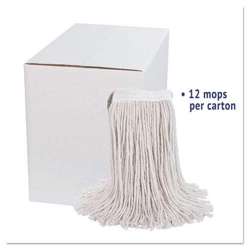 Premium Cut-End Wet Mop Heads, Cotton, 24oz, White, 12/Carton. Picture 2