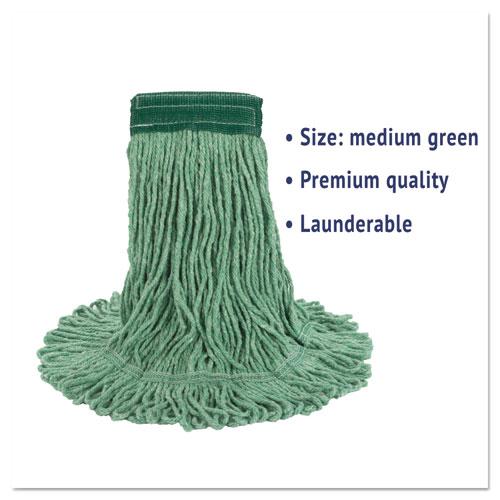 "Super Loop Wet Mop Head, Cotton/Synthetic Fiber, 5"" Headband, Medium Size, Green. Picture 2"