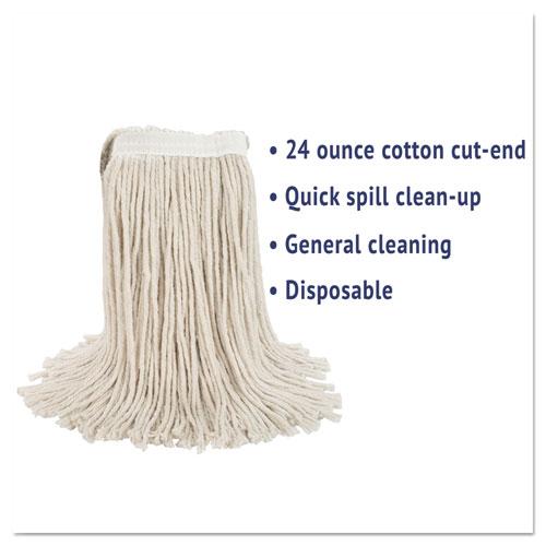 Premium Cut-End Wet Mop Heads, Cotton, 24oz, White, 12/Carton. Picture 3