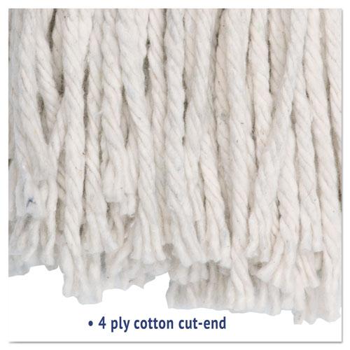 Premium Cut-End Wet Mop Heads, Cotton, 24oz, White, 12/Carton. Picture 4