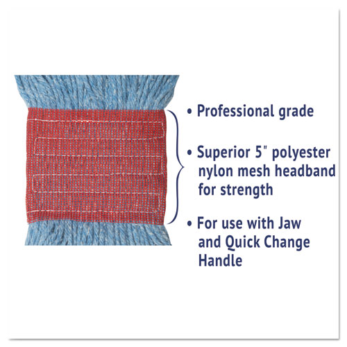 "Super Loop Wet Mop Head, Cotton/Synthetic Fiber, 5"" Headband, Large Size, Blue, 12/Carton. Picture 5"