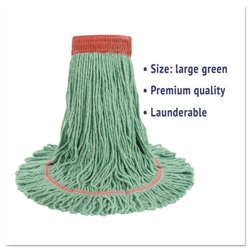 "Super Loop Wet Mop Head, Cotton/Synthetic Fiber, 5"" Headband, Large Size, Green. Picture 3"