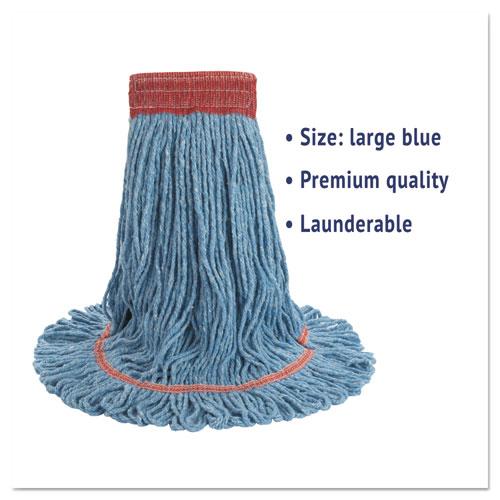 "Super Loop Wet Mop Head, Cotton/Synthetic Fiber, 5"" Headband, Large Size, Blue. Picture 2"