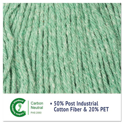 "Super Loop Wet Mop Head, Cotton/Synthetic Fiber, 5"" Headband, Large Size, Green. Picture 5"