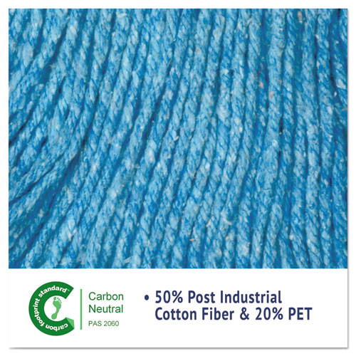"Super Loop Wet Mop Head, Cotton/Synthetic Fiber, 5"" Headband, Large Size, Blue, 12/Carton. Picture 6"