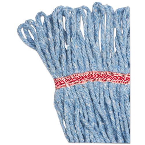 "Super Loop Wet Mop Head, Cotton/Synthetic Fiber, 5"" Headband, Large Size, Blue. Picture 7"