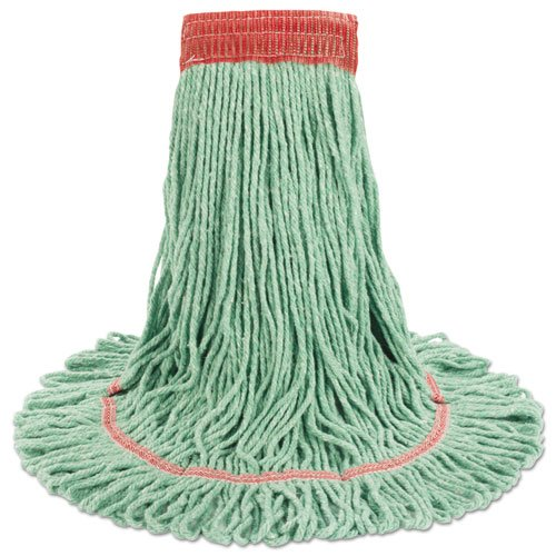 "Super Loop Wet Mop Head, Cotton/Synthetic Fiber, 5"" Headband, Large Size, Green. Picture 7"