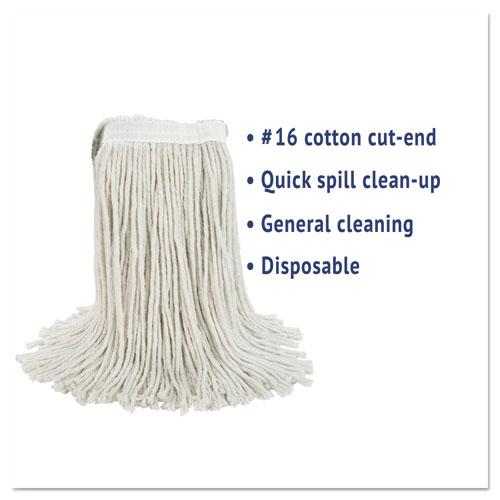 Cut-End Wet Mop Head, Cotton, No. 16 Size, White. Picture 2