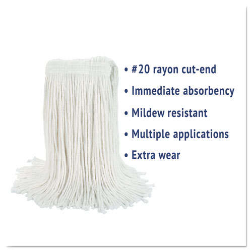 Cut-End Wet Mop Head, Rayon, No. 20, White. Picture 2