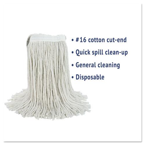 Cut-End Wet Mop Head, Cotton, #16, White, 12/Carton. Picture 3