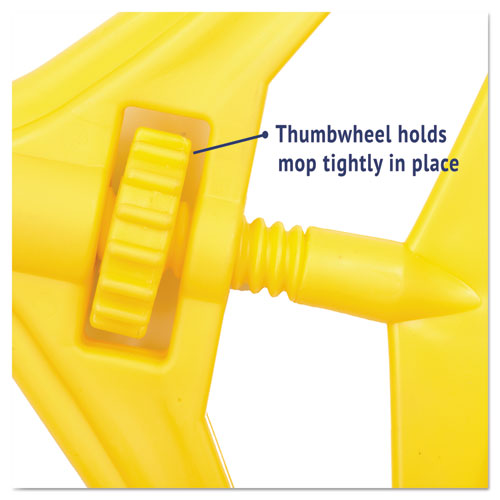 "Quick Change Side-Latch Plastic Mop Head Handle, 60"" Aluminum Handle, Yellow. Picture 6"